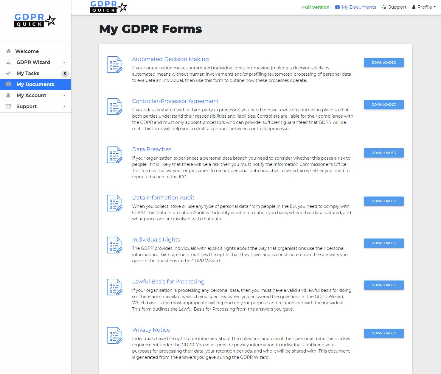 GDPR Forms & Downloads